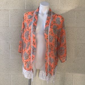 Miss Me Orange Floral Pattern White Fringe Kimono